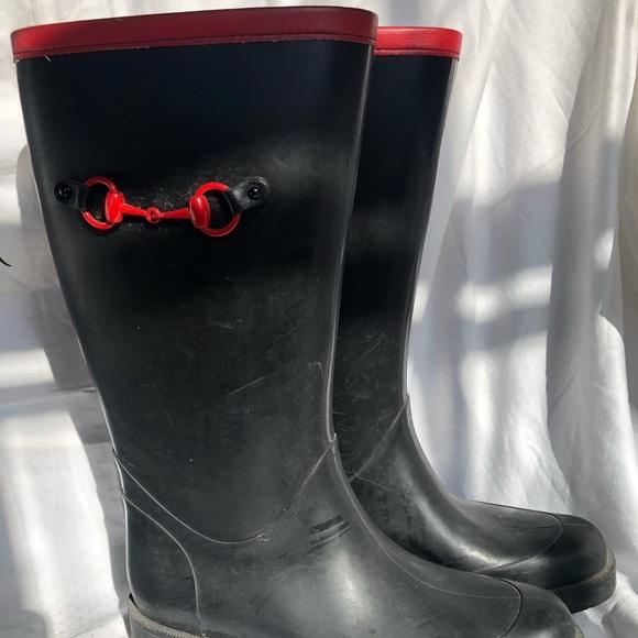 Authentic black/red Gucci rain boots